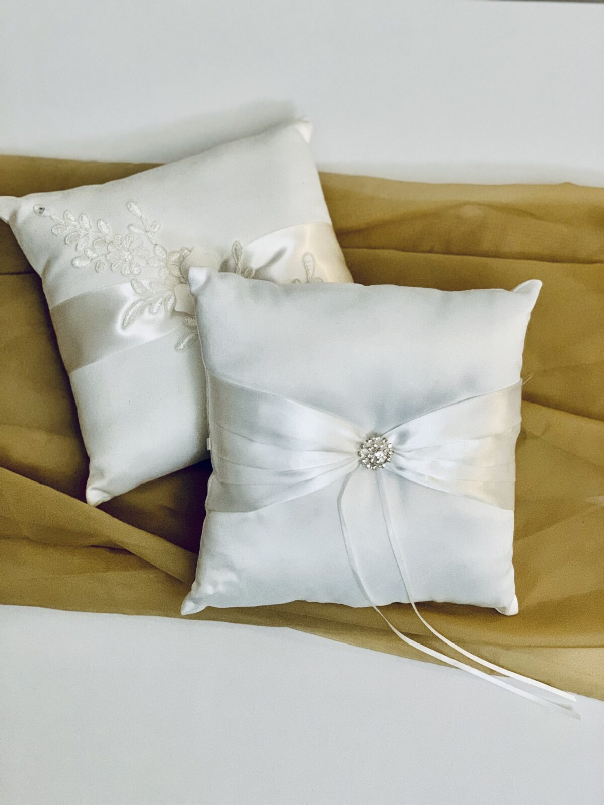 """Ring Bearer Pillow with Satin Bow and Jewel - White, 7"""" x 7"""" x 2.5"""", Qty:1, $8 - Ring Bearer Pillow with Diagonal Florals - White, 7"""" x 7"""" x 2.5"""", Qty:1, $8"""