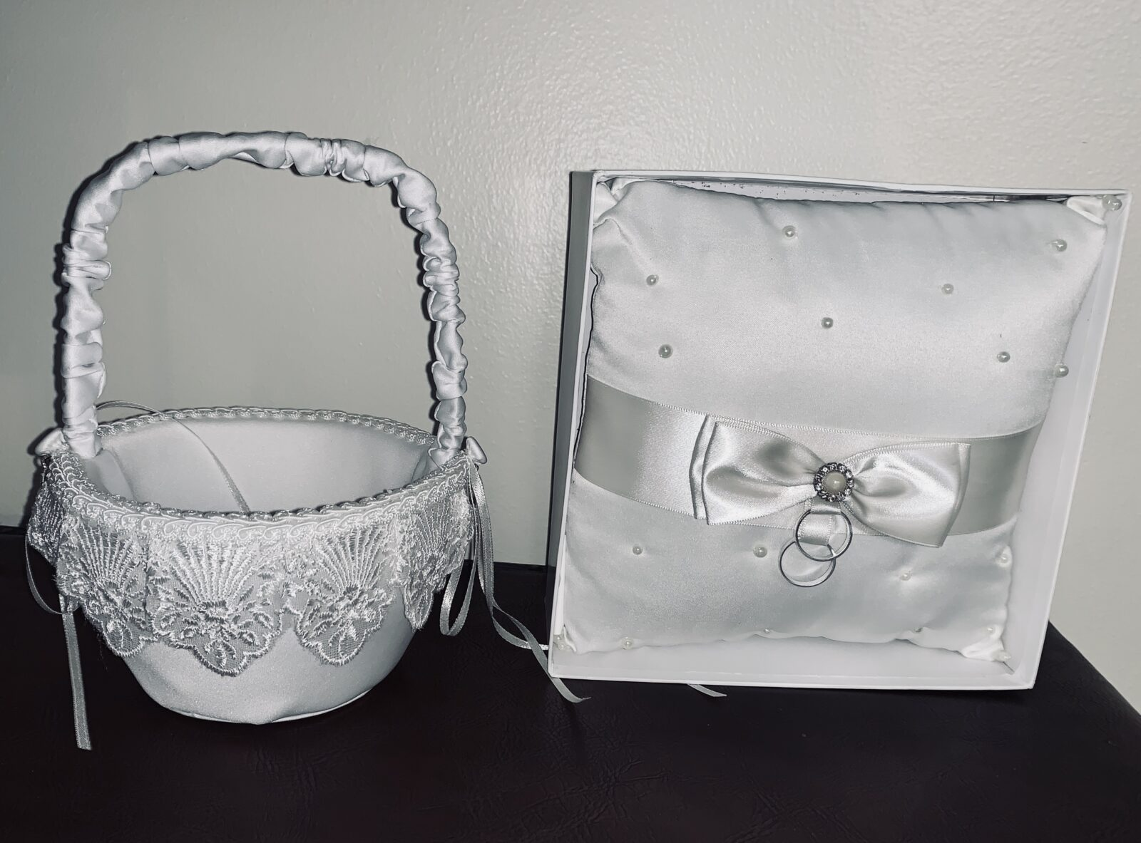 """Lace Flower Girl Basket - White, 8.25""""x5""""x5, Qty:1, $8 - Ring Bearer Pillow with Pearls - 7.5""""x7.5""""x2"""", Qty:1, $8"""