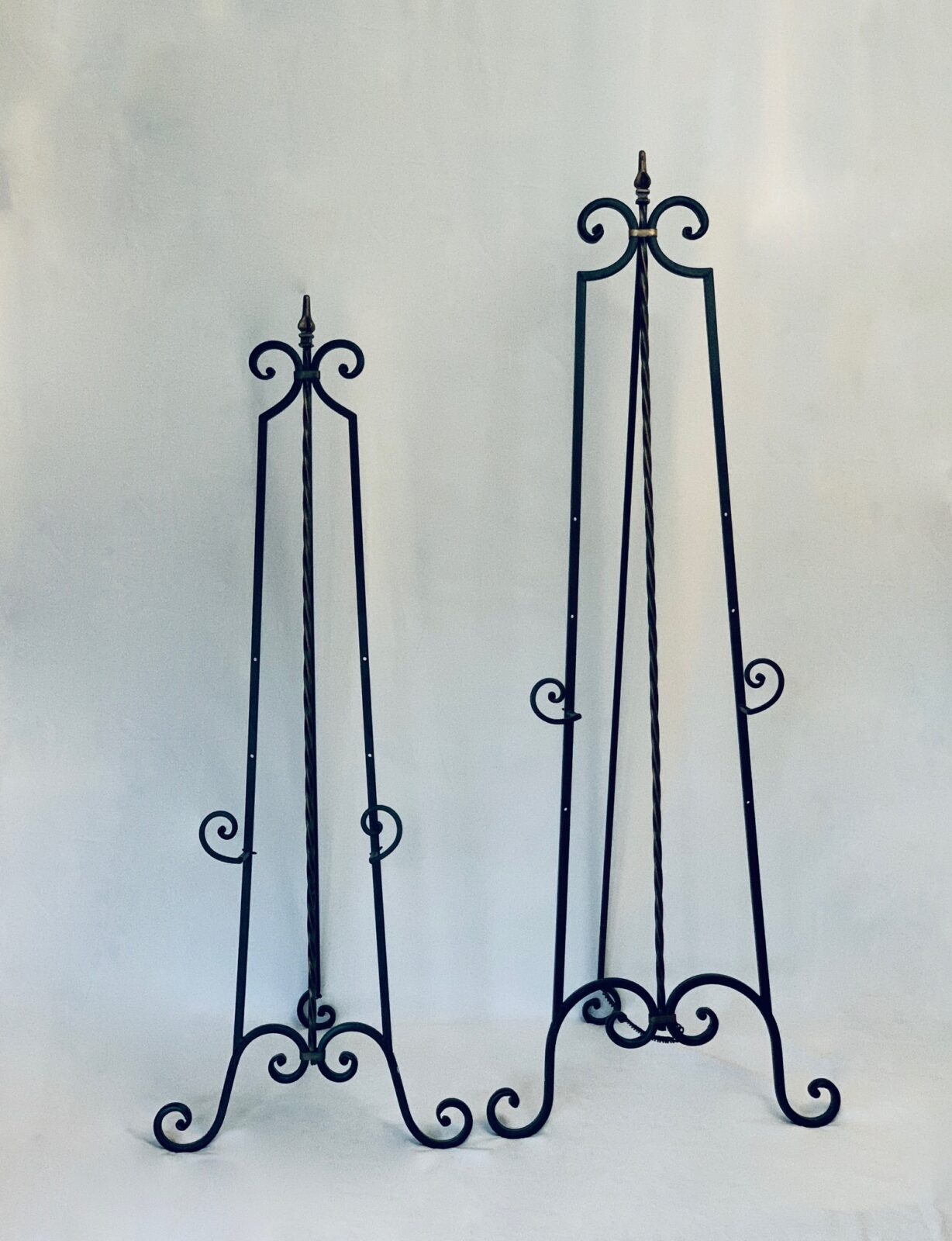 """4.5' Iron Easel - Black, 53"""" tall x 20"""" wide (12"""" sign holder), Qty:1, $10 - 6' Iron Easel - Black, 72"""" tall x 22"""" wide (15"""" sign holder), $12"""